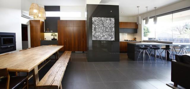 villa - living room kitchen joinery - koush - wayville