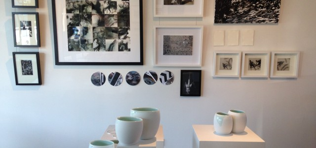 Black and white artworks by Adelaide artists in ink, oils, silver, ceramic