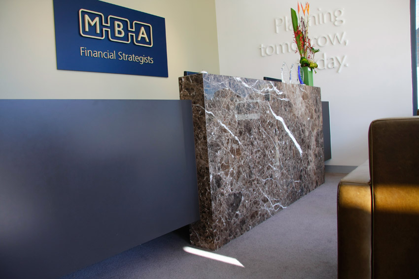 mba financial strategists - custom marble and resin reception desk - koush - unley