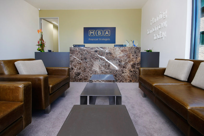 mba financial strategists - office reception custom furniture joinery - koush - unley