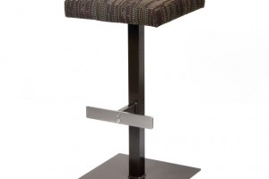 Pedestal barstool with stainless steel footrail