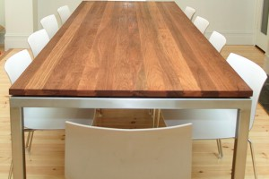 custom furniture - plane table recycled timber top stainless legs - koush - adelaide