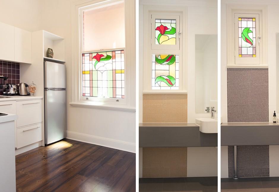 podiatrist - kitchen staff room bathroom stained glass - koush - glenelg