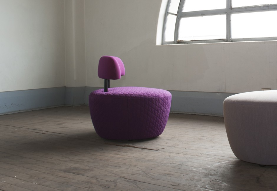 Contra chair, Koush, Custom upholstery, texture, quilting, interior view 3